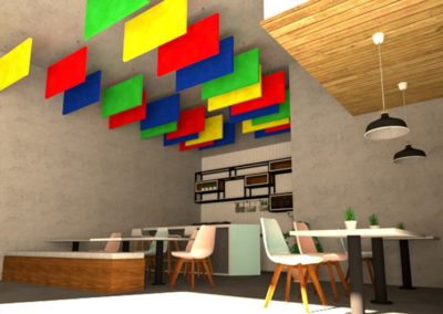 Subtex Wave Nubby Colours livens up the neutral walls and ceilings of this boutique café